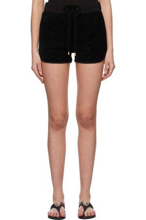 Balmain Black Velvet Monogram Shorts