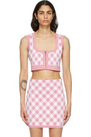 Balmain Pink & White Check Cropped Tank Top