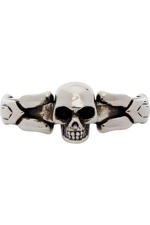 Alexander McQueen Silver Textured Skull Ring