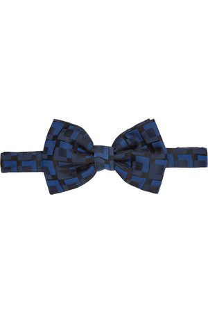 DRIES VAN NOTEN Black & Blue Silk Squares Bow Tie