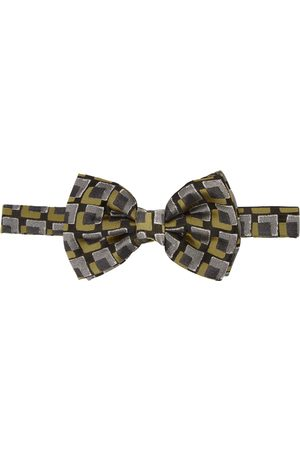 DRIES VAN NOTEN Black & Yellow Silk Squares Bow Tie