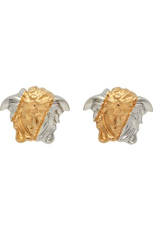 VERSACE Gold & Silver Palazzo Dia Earrings