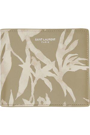 Saint Laurent Beige & Khaki Printed Bifold Wallet