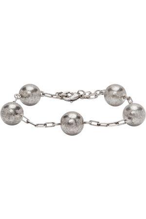 Saint Laurent Silver Beaded Chain Bracelet