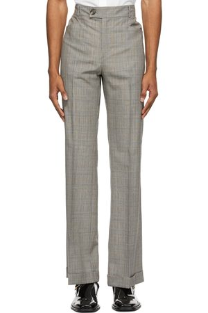 Ernest W. Baker Grey & Brown Houndstooth Flare Trousers