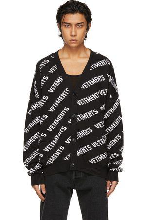 Vetements Black & White All-Over Logo Cardigan