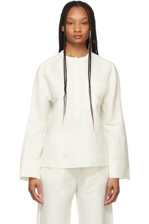 Totême White Linen Half Button Shirt