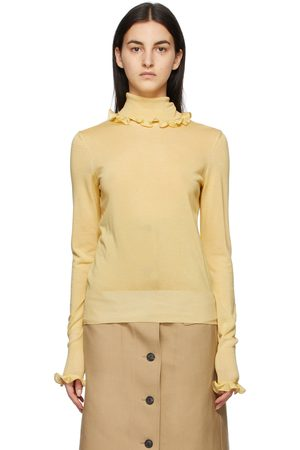 Victoria Beckham Yellow Ruffle Polo Turtleneck