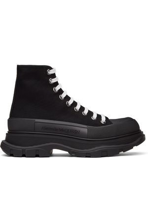 Alexander McQueen Black Canvas Tread Slick High Sneakers
