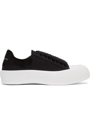 Alexander McQueen Black & White Deck Plimsoll Sneakers