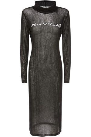 MM6 MAISON MARGIELA Kvinder Casual kjoler - Printed Logo Mesh Jersey Dress