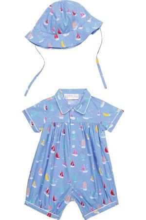 Rachel Riley Babysæt - Baby printed cotton romper and hat set