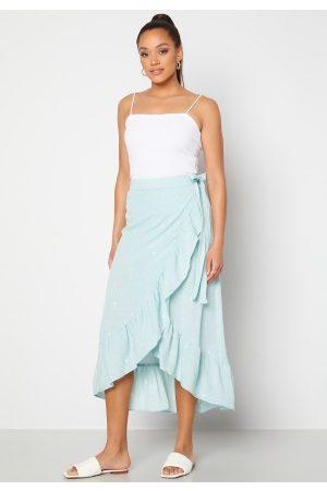 Y.A.S Kvinder Midinederdele - Yvonne HW Long Wrap Skirt Star White Yvonne Pr S