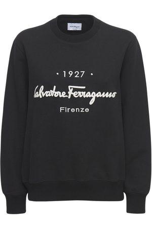 SALVATORE FERRAGAMO Logo Cotton Jersey Crewneck Sweatshirt