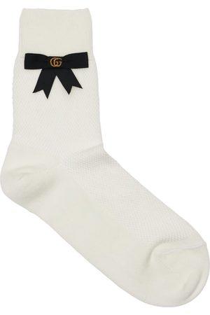 Gucci Stretch Cotton Blend Socks W/gg Bow
