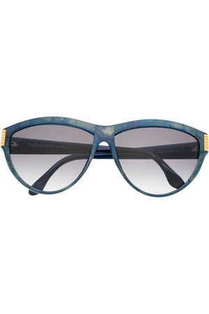 Yves Saint Laurent 1980'er solbriller med graduerende rundt stel og logodetalje
