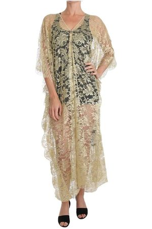 Dolce & Gabbana Floral Lace Crystal Gown Cape Dress