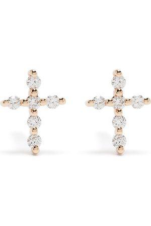 Djula Mænd Øreringe - Kors-øreringe i 18 karat rødguld med diamanter