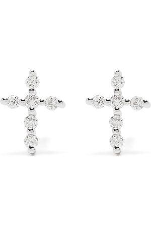 Djula Mænd Øreringe - Korsøreringe i 18 karat hvidguld med diamanter