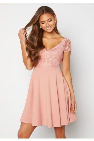 Goddiva Kvinder Casual kjoler - Short Sleeve Lace Trim Skater Dress Blush S (UK10)