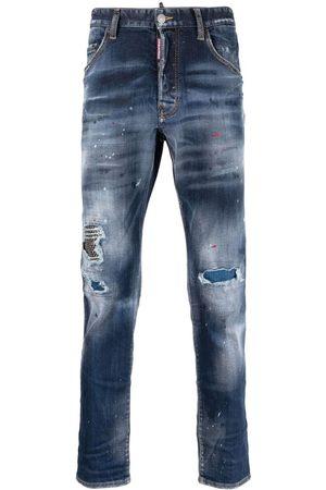 Dsquared2 Mænd Straight - Jeans med malingssprøjt og slitageeffekt