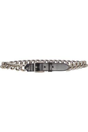 Alexander McQueen Chain-trimmed leather belt