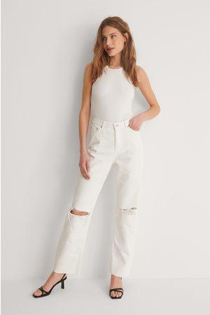 NA-KD Økologiske Hullede Højtaljede Lige Jeans
