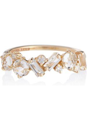 Suzanne Kalan Kvinder Ringe - Amalfi 14kt gold ring with diamonds and topaz
