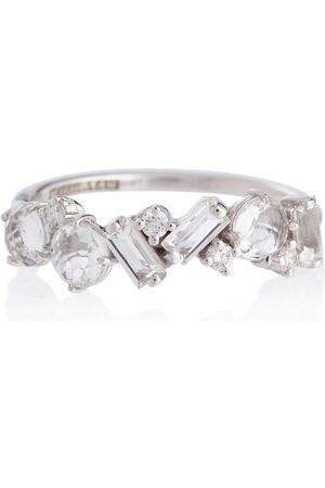 Suzanne Kalan Amalfi 14kt white gold ring with diamonds and topaz