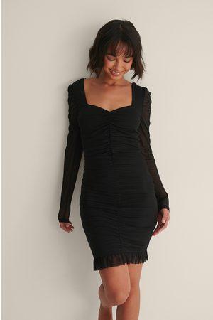 NA-KD Kvinder Bodycon kjoler - Langærmet Flæsekjole