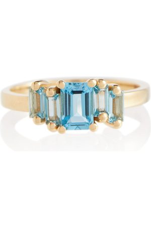 Suzanne Kalan Amalfi 14kt gold ring with emerald and topaz