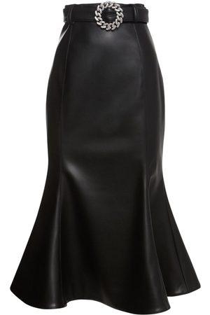 GIUSEPPE DI MORABITO Belted Faux Leather Midi Skirt