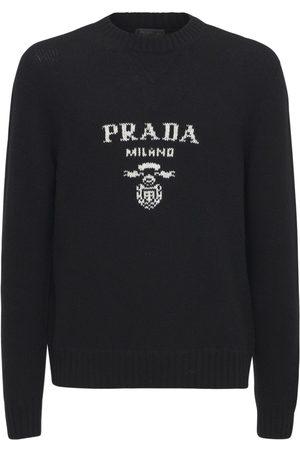 Prada Logo Embroidered Wool Blend Knit Sweater