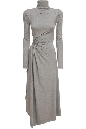 OFF-WHITE Lvr Exclusive Plisse Panel Midi Dress