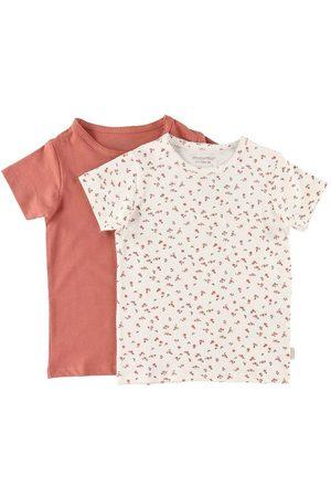 Minymo Kortærmede - T-shirt - 2-pak - Canyon Rose/ m. Blomster