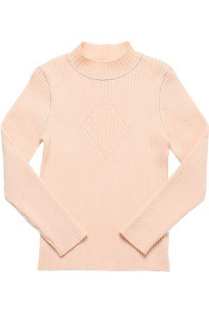 CHLOÉ Logo Cotton & Lurex Ribbed Knit Sweater