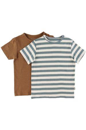 Minymo T-shirt - 2-pak - /Grønstribet/Toffee