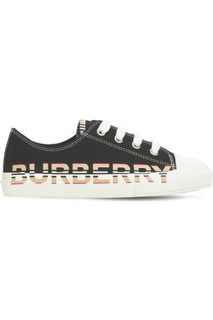 Burberry Drenge Sneakers - Logo Print Cotton Lace-up Sneakers