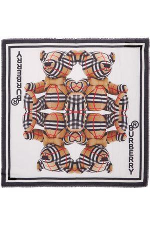 Burberry Bear Print Cotton & Silk Scarf