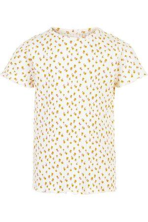 Minymo Kortærmede - T-shirt - White Swan m. Blomster