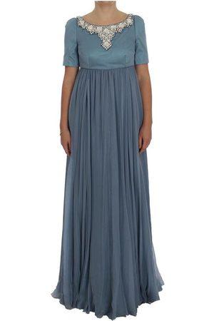 Dolce & Gabbana Silk Crystal Sheath Gown Ball Dress