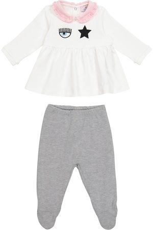 MONNALISA Babysæt - X Chiara Ferragni Baby Eyestar cotton blouse and pants set