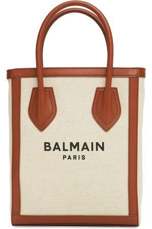 Balmain B-army 26 Canvas & Leather Tote Bag