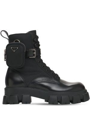 Prada Leather & Nylon Boots W/coin Purse