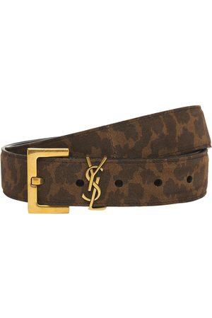 Saint Laurent 30mm Monogram Leo Suede Leather Belt