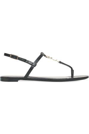 Saint Laurent 10mm Croc Embossed Leather Thong Sandal