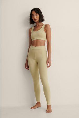NA-KD Kvinder Bukser - Højtaljede Ribstrømpebukser Af Genanvendt Materiale
