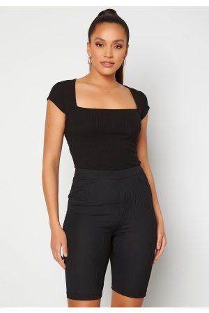 BUBBLEROOM Kvinder Kortærmede - Squareneck T-shirt Black XS