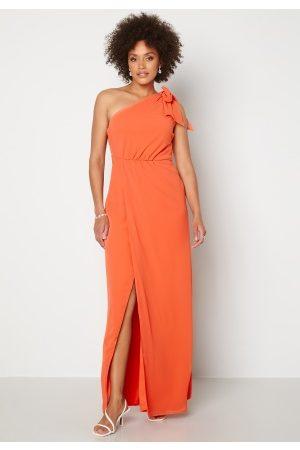BUBBLEROOM Kvinder Festkjoler - Cyrene one shoulder chiffon gown Coral 40