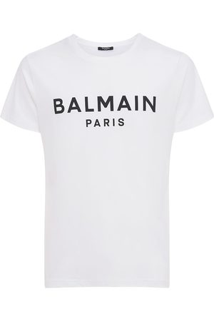Balmain Mænd Kortærmede - Logo Print Cotton Jersey T-shirt